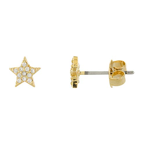 (Columbus 14K Gold Dipped Star Stud Earrings - Pavé Star Post Studs (Gold CZ Star))