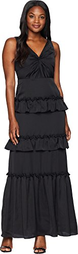 Adrianna Papell Women's V-Neck Ruffle Tiered Gown with Draped Bustline Black 2