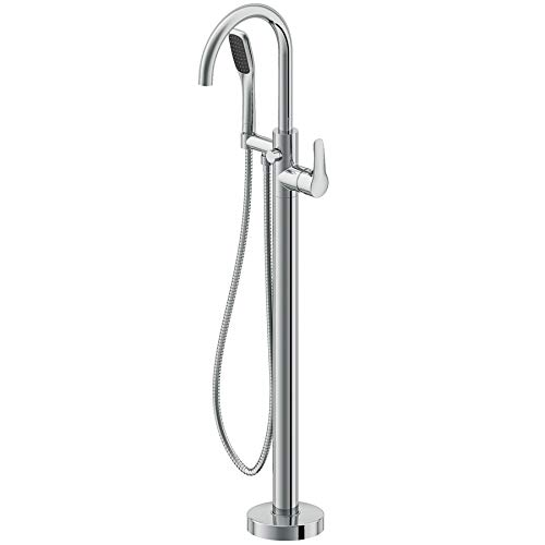 - Jacuzzi NW5082 Freestanding Tub Filler with Metal Lever Handle, Built-In Diverte, Brushed Nickel