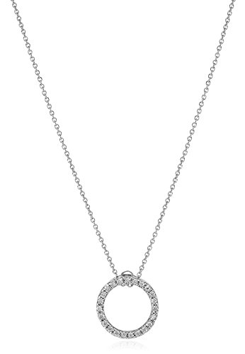 Roberto Coin Tiny Treasures 18k White Gold Diamond X-Small Circle Pendant Necklace (1/5cttw, G-H Color, SI1 Clarity) (Diamond Coin / Roberto 18k Necklace)