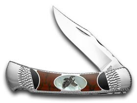 BUCK 110 Genuine Mother of Pearl Eagle Painted Pony 1/100 Folding Hunter Custom Pocket Knife Knives
