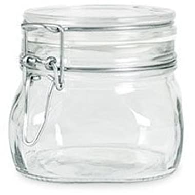 Case of 6 - Bormioli Rocco Fido Latch Lid 500ml (16 Oz) Square Canning Cosmetic Storage Hermetic Italian Jars From Italy