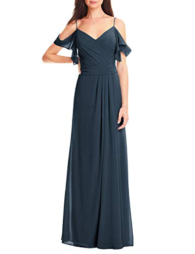 - Cdress Bridesmaid Dresses Evening Party Gowns Chiffon Pleated Long Ruffle Off Shoulder Navy Blue US 10