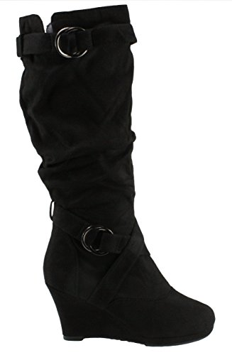 Platform Womens Forever Norita Heel Round Black Suede Faux Toe 69 Boots Slouchy Wedge 8n1OnqZB