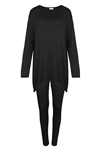 Samantha-Conjunto de chándal de alto y leggings para mujer con pompones de punto extensible negro