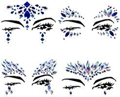 (4 Sets Mermaid Face Gems Rhinestone Tattoo Festival Jewels Eyes Face Body Temporary Tattoos Glitter Temporary Tattoo Bindi Crystals Rainbow Tears)