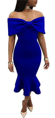 Ruffle Front Sheath Dress (Arctic Cubic Short Sleeve Off The Shoulder Ruched Front Ruffled Ruffle Hem Midi Bodycon Fishtail Mermaid Dress Blue M)