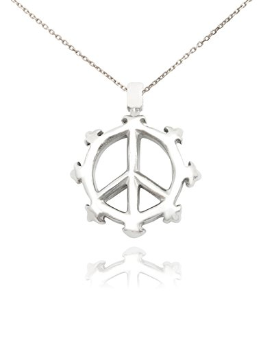 New Peace Sign Silver Pewter Charm Necklace Pendant Jewelry ()