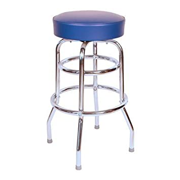 Richardson Seating Retro 1950s 30 Backless Swivel Bar Stool Blue Seat