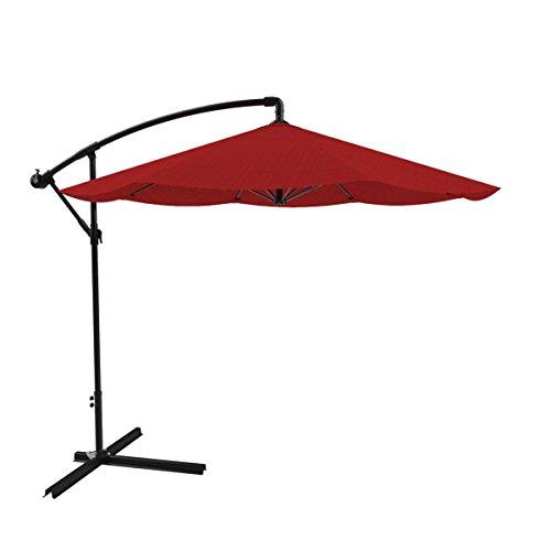 Pure Garden Patio Umbrella, Cantilever Hanging Outdoor Shade, Easy Crank and Base for Table, Deck, Balcony, Porch, Backyard, Pool 10 Foot (Red) -