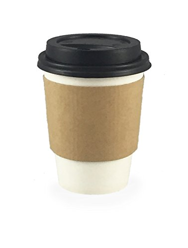 CucinaPrime WHITE Paper Coffee Hot Cups with BLACK Travel Lids and Sleeves - 12 oz, 100 Count