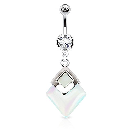 Dynamique Opalite Diamond Shaped Semi Precious Stone Mounted 316L Surgical Steel Belly Button Ring