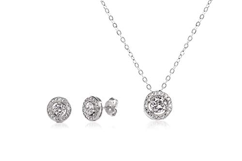 INSPIRED BY YOU. Round Prong Set Cubic Zirconia Stud Earring and Halo Pendant Bridal Necklace Set for Women in Rhodium Plated 925 Sterling ()