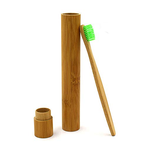 MaxFox Portable Natural Bamboo Toothbrush Box Case Tube Sanitary Eco-Friendly Hand Made for Outdoor Traveling Essentials (Brown)