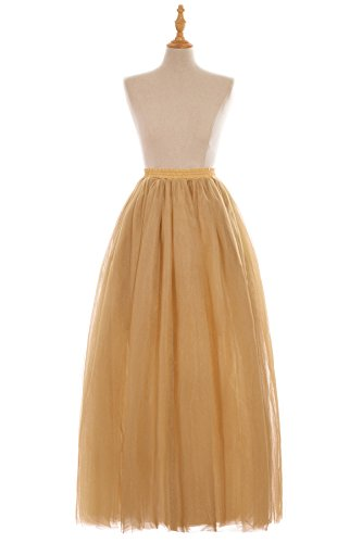 Babyonline 6 Layer Gold Tulle Ballet Petticoat Silp Skirt for Long Dresses