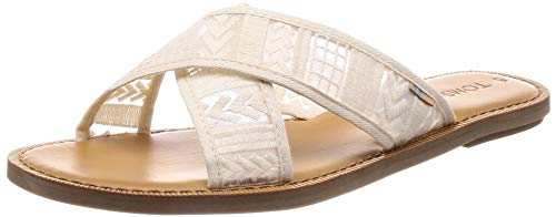 TOMS Women's Viv Sandals Natural Arrow Embroidered Mesh ()