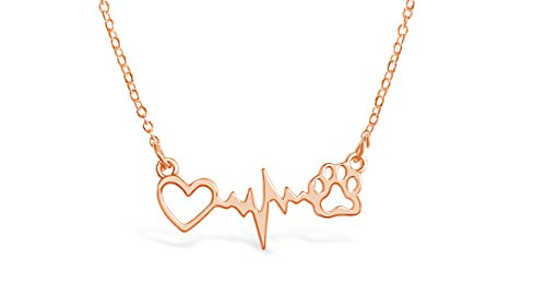 Rosa Vila Dog Paw With Heartbeat Necklace, Puppy Necklace for Owners of All Dog Breeds, Dog Remembrance Necklace, Veterinarian Necklace and K9 Officer Gift for Women (Rose Gold Tone)