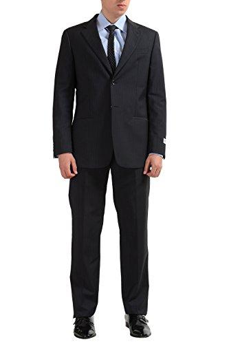 Armani Collezioni Men's 100% Wool Two Button Off Black Suit US 38R IT ()