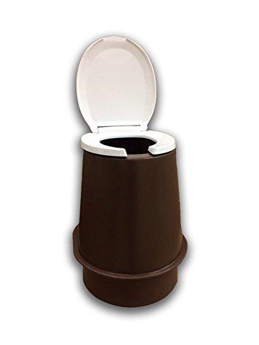 Waterless Toilet Riser with Seat & Lid (Brown)