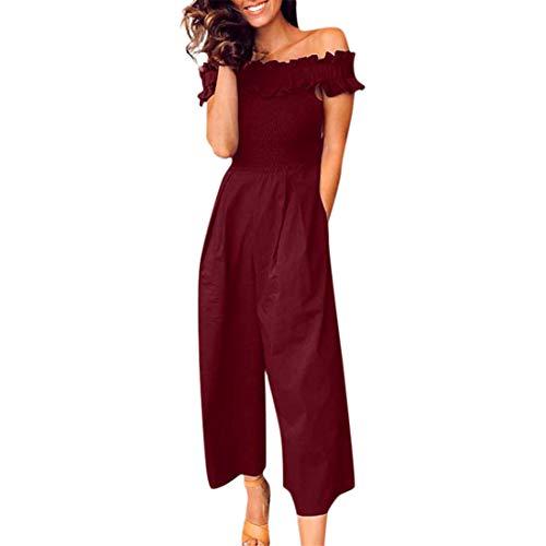 jiumoji Womens Short Sleeve Off Shoulder Playsuit Ladies Casual Loose Wide Leg Long Pants Vintage Jumpsuit (-Wine red, XL)