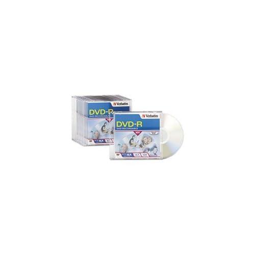 ** DVD-R Discs, 4.7GB, 16x, w/Slim Jewel Cases, 10/Pack