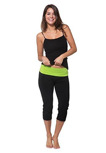 Nouveau Women's Workout Active Capri Yoga Pants With Contrasting Color Waistband Casual Loungewear