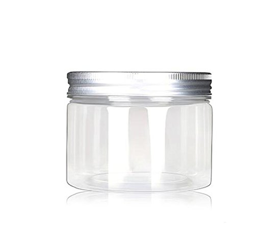 120ml/4 Oz Jars PET Plastic Empty Cosmetic Containers Cases with Silver Aluminum Caps Cream Lotion Box Ointments Bottle Food Bottle Makeup Pot Jar Pack of 6