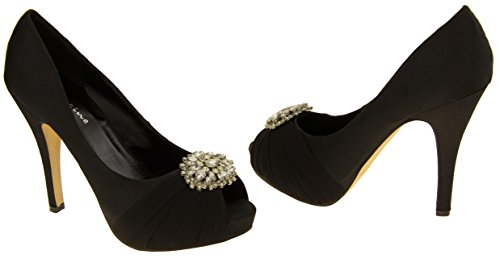 Mujer Sabatine Satén diamante racimo nupcial boda zapatos Negro