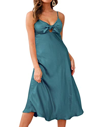 (FANCYINN Women's Satin Dress Tie Front Spaghetti Strap V Neck Sleeveless Silky Smooth Nightgown Midi Party Evening Dress Ocean Green M)