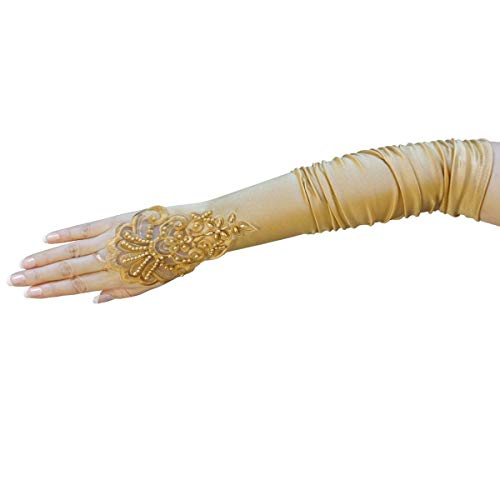 ZaZa Bridal Gathered Satin Fingerless Gloves w/Floral Embroidery Lace & Sequins-Gold
