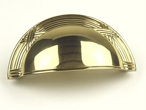 Century Hardware Solid Brass, Cup Pull, 3'' c.c. Polished Brass