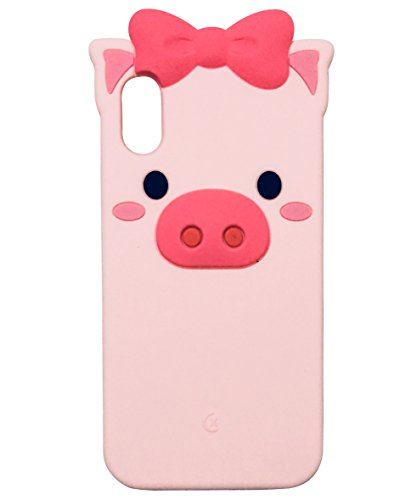 iPhone X Case, iPhone 10 Case, TopFunny iPhone X Silicone 3D Cute Bowknot Cartoon Animals Soft TPU Rubber Bumper Protective Gel Cover Shockproof Case for Apple iPhone X 5.8 2017 Pink Pig