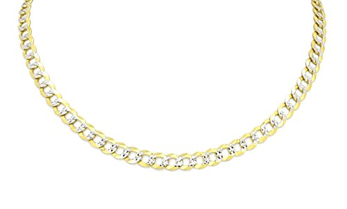 Chain Two Tone Necklace (Real 10k Two Tone (Yellow & White Gold) Hollow Cuban Chain 16