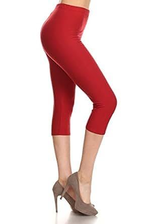 Leggings Depot Women's Popular Basic Capri Cropped Regular and Plus Solid High Waist Leggings (3X-5X, Burgundy)
