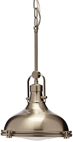 Progress Lighting P5188-09 Fresnel Collection 1-Light Pendant, Brushed Nickel
