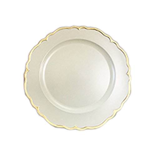 Scallop Charger Plate - Elle Decor 1270501-4 Scallop Charger Plate, 13 x 13, White