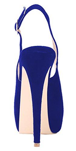 Aooar Pumput Slingback Piilotettu Blue Osapuoli Korkokengät Suede Taso Naisten wHHIqr