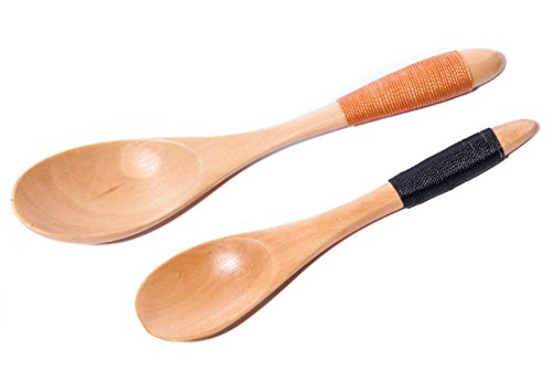 Islandoffer 2Pcs Handmade Japanese Style Wooden Kids Soup Coffee Honey Spoons (5.5 inch, 6.8 inch)