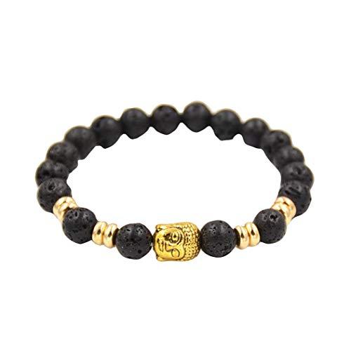 Botrong Women Men Bracelet Gold Buddha Elastic Beaded Bracelet Tibet Charm Bracelets ()