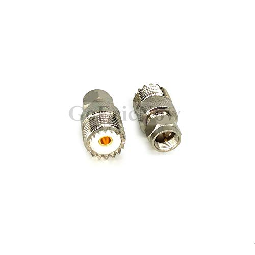 Davitu 1 pcs RF Coaxial UHF PL-259 Female Jack to F Type Male RF Radio Coax Adapter Converter Connector
