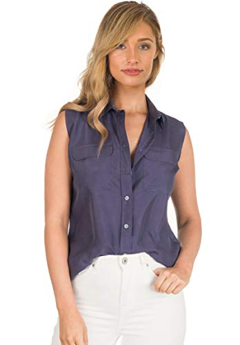 CAMIXA Womens 100% Silk Blouses Ladies Shirt Casual Pocket Button up Elegant Top M Blue Sleeveless