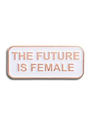 s Female Feminist Statement Enamel Lapel Pin (Future Is Female) (Gold Enamel Portrait)