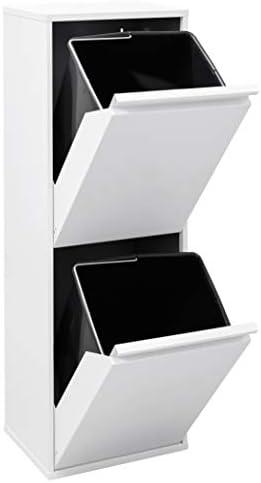 ARREGUI CR201 B Basic Stahl, Mülltrennsystem mit 2 Inneneimer, Mülleimer für die Küche, Abfallbehälter mit separater Recycling Einheit, 34 L, Weiß,