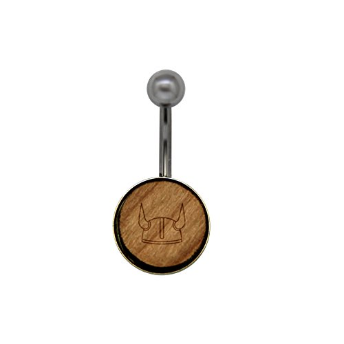 Viking Helmet Surgical Stainless Steel Belly Button Rings - Size 14 Gauge Wooden Navel Ring - Rustic Wood Navel Ring with Laser Engraved Design (Viking Belly Ring Button)