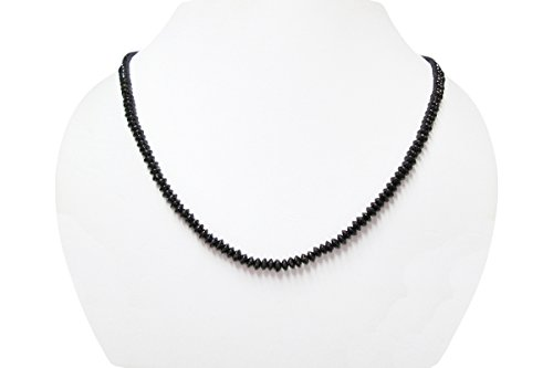 Black Spinel Saucer Beads Necklace Strand with Sterling Silver 16