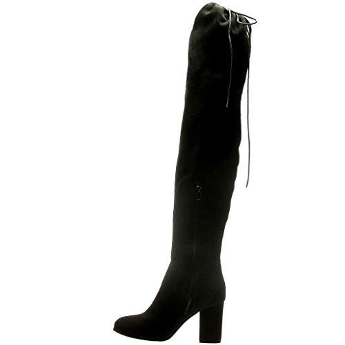 Angkorly - Scarpe da Moda Stivali Alti Stivali - Scarponi sexy flessibile donna Tacco a blocco tacco alto 8.5 CM - Nero