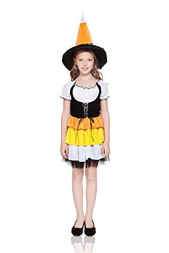 Kids Girls Candy Corn Witch Halloween Costume Cute Sorceress Dress Up & Role Play (3-6 years, white, black, orange, yellow)