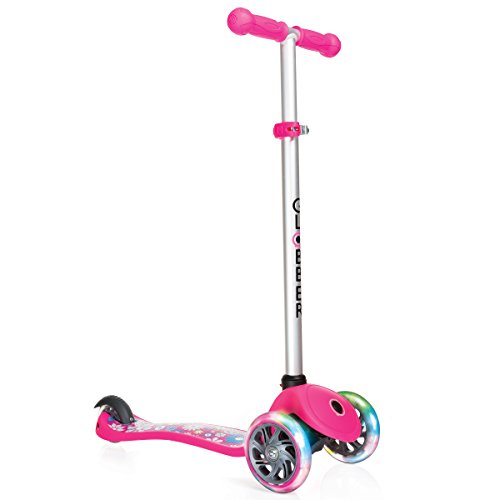 Globber 3 Wheel Adjustable Height Scooter with LED Light Up Wheels (Pink/Flowers)