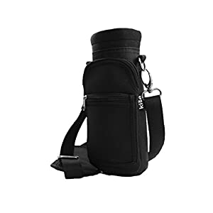 Kisa Water Holder Carrier Hydro Flask / Swell Type Bottles. Shoulder Hand Strap Pocket Pouch Carrying Handle Sling Neoprene Inner Canvas Outer 3 Sizes Hiking Travel Gym 16oz 17oz 20oz 24oz 32oz 40oz L