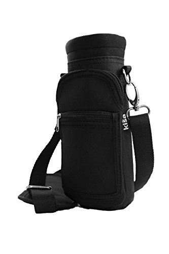 Kisa Water Bottle Holder Carrier Flask Bottles Adjustable Shoulder Hand Strap 2 Pocket Sling Neoprene Sleeve Hiking Travel Hydro 16oz 17oz 20oz 24oz 25oz 32oz 40oz (Small, Onyx)